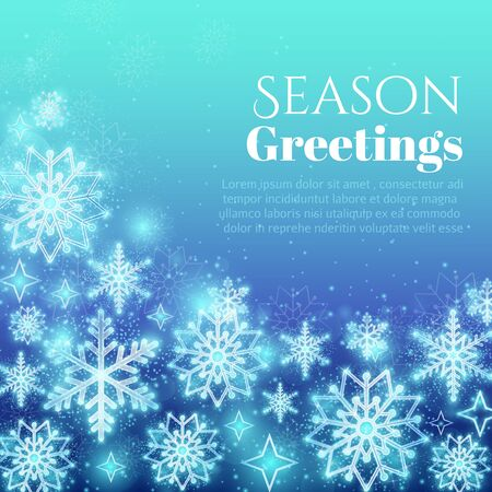 scintillation: Holiday greeting background with snowflakes. Winter snow design, glitter ornament, vector illustration
