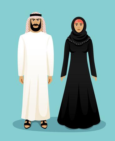mujer: Ropa árabe tradicional. Hombre árabe y de la mujer árabe. Oriente musulmán, la cultura y la ropa, ilustración vectorial
