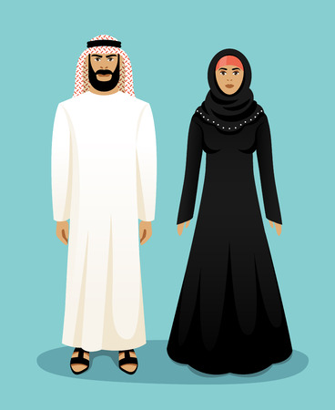 beard woman: Traditional arab clothing. Arab man and arab woman. East muslim, culture and clothes, vector illustration