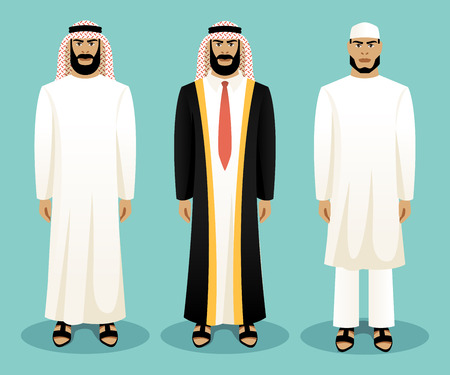 muslim fashion: Arabic man wearing traditional clothing. Culture clothes, clothing person, ethnic people, vector illustration