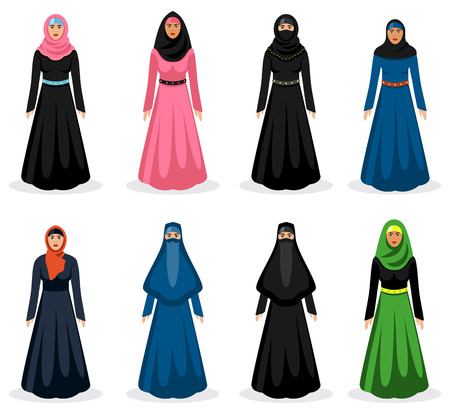 arab girl: Middle eastern woman set. Traditional arabic hijab, ethnicity girl clothing, vector illustration