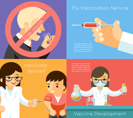 vaccination: Medical flu vaccination concept background. Vaccine against virus, syringe and care, vector illustration