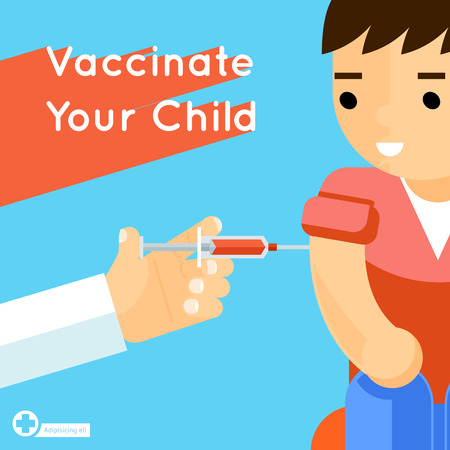 Child vaccination concept poster. Medical immunization, patient healthcare, vector illustration