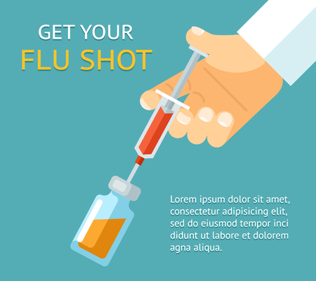 Get your flu shot. Doctor hand with syringe. Medicine and vaccination, bottle injection, vector illustration