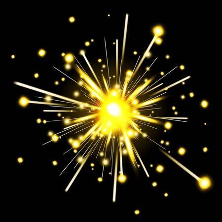 sparkler: Glowing party sparkler. Firework for holiday, sparkler fire, celebration spark, vector illustration