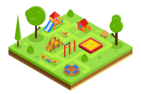 kid playing: Childrens playground in isometric flat style. Kindergarden with sandpit carousel bench. Vector illustration Illustration