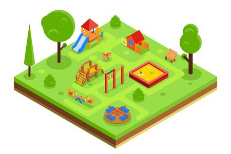 bambini che giocano: parco giochi per bambini in stile piatto isometrico. Asilo con panca sabbiera giostra. illustrazione di vettore Vettoriali