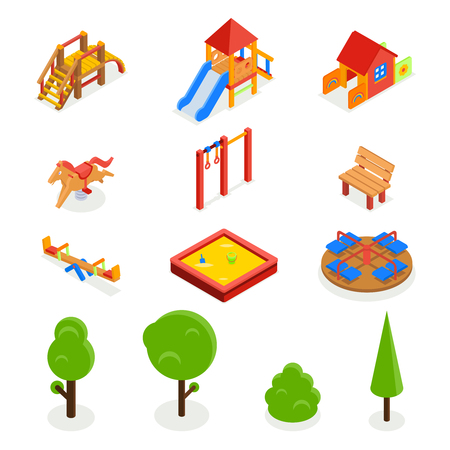 sandbox: Kids isometric 3D playground. Icon set bench carousel slide, swing seesaw and sandbox, vector illustration