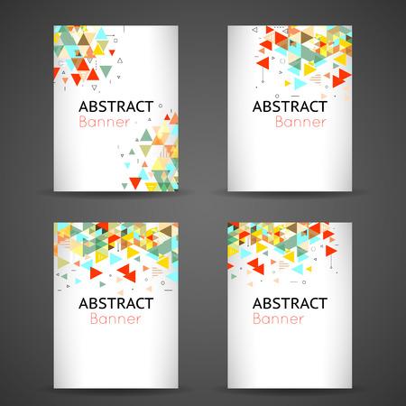 abstraktní: Barevné geometrické abstraktní pozadí set. Plakát pro podnikání, prapor karta s geometrickým designem, vektorové ilustrace