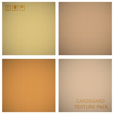 corrugated box: Cardboard textures set. Paper cartoon background, pattern material macro closeup, vector illustration