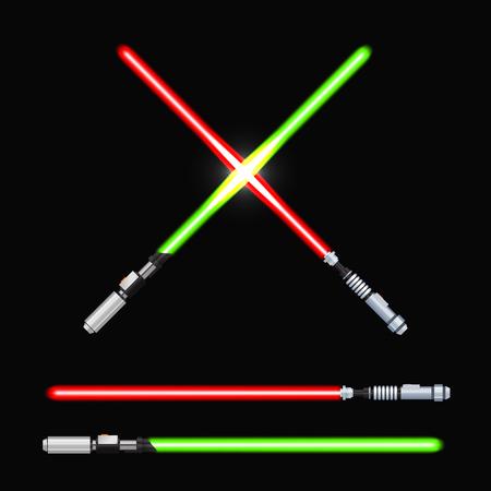 pelea: Light swords. Weapon futuristic from star war, shiny fight, vector illustration