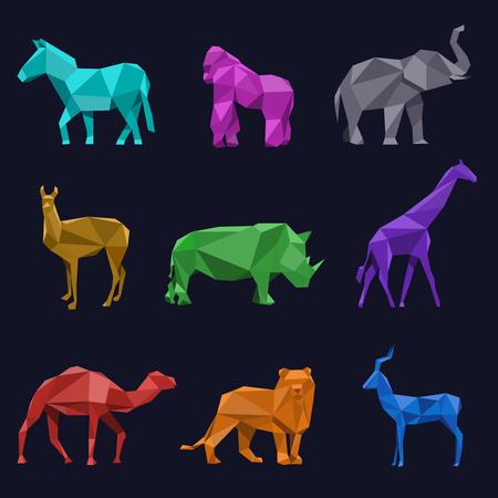hayvanlar: Hayvanlar düşük poli. Karaca ve aslan, gergedan deve fil goril ve zürafa, vektör çizim