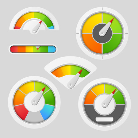 Gauge chart meter elements. Dashboard indicate, panel indicator, measure gauge, vector illustration