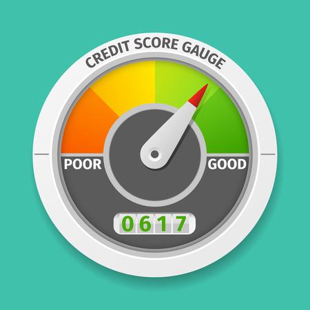Credit score gauge goede en slechte rating, informatie financiële tarief, vector illustratie