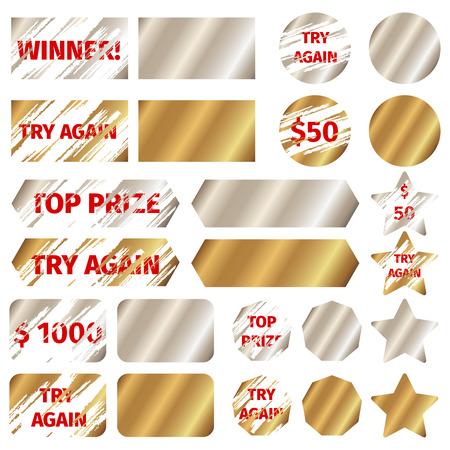 スクラッチ カード要素。ゲーム宝くじ賞を受賞、グランジ、その効果、ベクトル イラスト