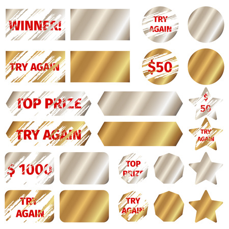Scratch card elements. Win game lottery prize, grunge effect,  vector illustration Vettoriali