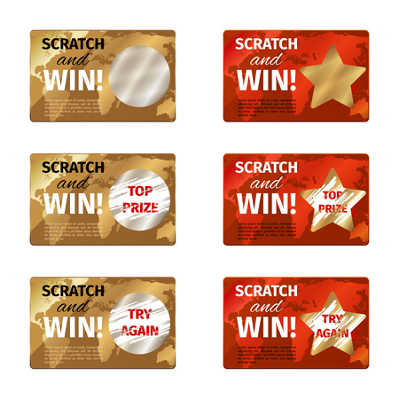 scratch card: Scratch card design template. Lottery prize, gambling and reward, vector illustration Illustration