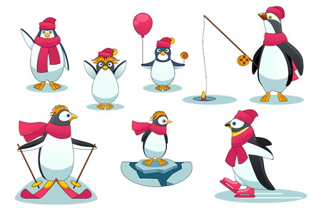 ice fishing: Penguins in different situations. Character polar wild mammal  with rod fishing, skiing and ice skating. Vector illustration in cartoon style