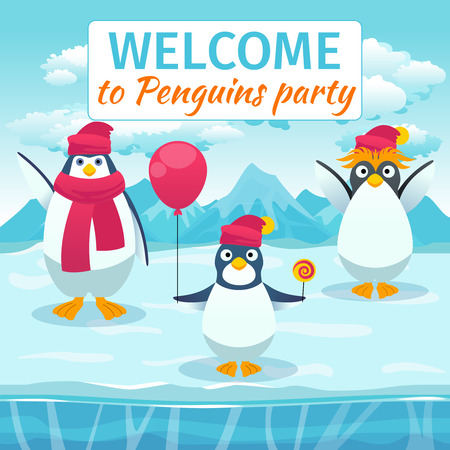 event party: Funny penguins card or party invitation. Welcome festival holiday, event celebrate, template banner. Vector illustration Illustration