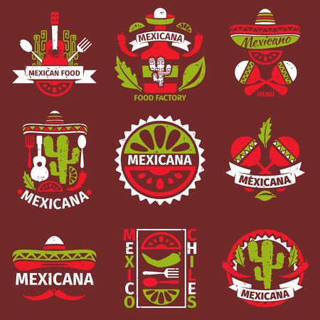 mexicans: Mexican food grunge rubber stamps logo for restaurant menu, vector illustration