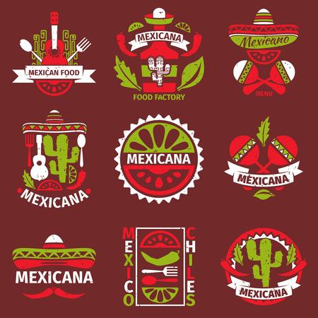 Sellos de goma del grunge logotipo de Mexicana de alimentos para el menú del restaurante, ilustración vectorial Foto de archivo - 49251466