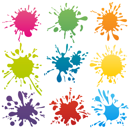 color: Colorful ink spots set. Splash splatter abstract shape. Vector illustration