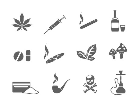 Drug icons set. Cigarette and bottle, pipe and heroin, alcohol and tablet, smoke and mushroom, narcotic cocaine, vector illustration