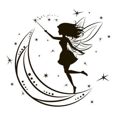 noche y luna: Silueta de hadas con la luna y las estrellas. Muchacha de la belleza mágica de la fantasía, la ilustración vectorial