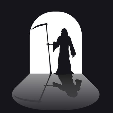 satan: silueta parca. Horror mal negro con la guadaña. ilustración vectorial