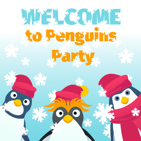 winter party: Winter party invitation. Penguin character cartoon welcome to party banner poster. Vector illustration