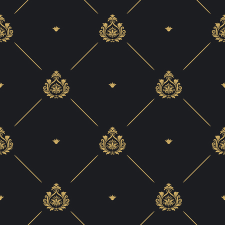 royal wedding: Royal wedding pattern seamless background, line and golden element on black, vector illustration