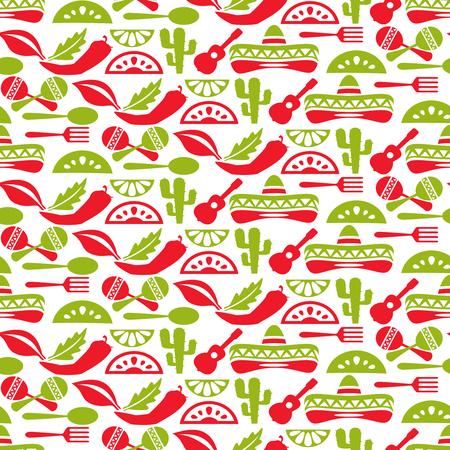 Mexicaanse patroon. Fiesta en de sombrero, naadloze achtergrond, mexico inwoner, vector illustratie