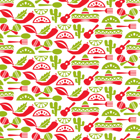 Mexican pattern. Fiesta and sombrero, seamless background, mexico native, vector illustration