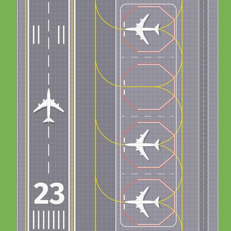 Airport landing airstrips. Airplane transport, runway for aviation, vector illustration Illustration