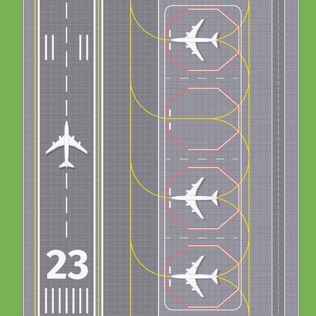 Airport landing airstrips. Airplane transport, runway for aviation, vector illustration Vettoriali