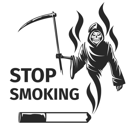 Stop smoking with death sign. Scytheman symbol, habit cigarette, vector illustration