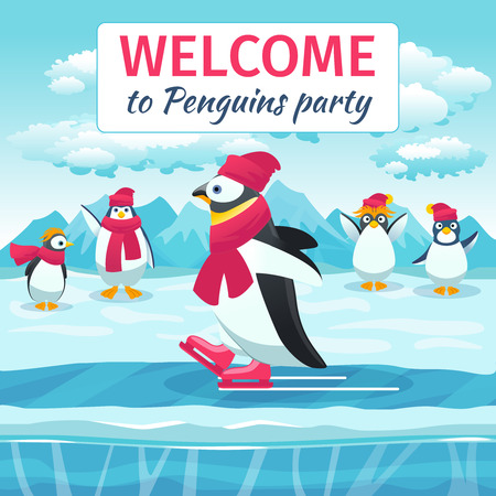 rink: Cartoon penguins skating. Animal on ice rink, welcome festival holiday event party. Vector illustration