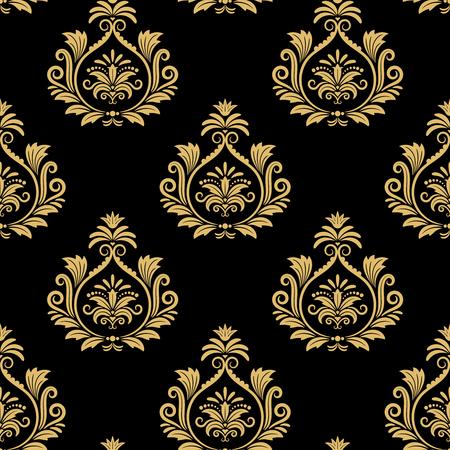 Seamless baroque background, golden damask vintage pattern on black