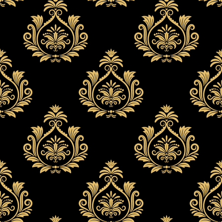 Naadloze barokke achtergrond, gouden damast vintage patroon op zwart