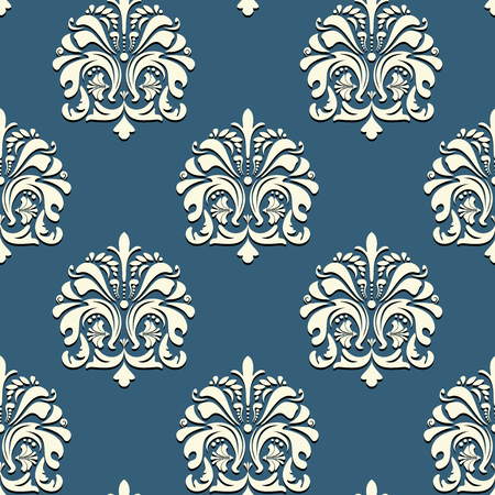 scroll shape: Seamless oriental pattern on blue background vector backdrop
