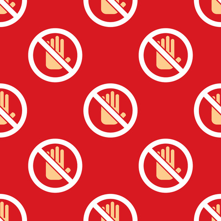 abort: No entry hand icon pattern. Stop sign background Illustration