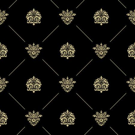 Golden royal baroque vintage seamless pattern. Black wallpaper with lines and flowers Ilustração