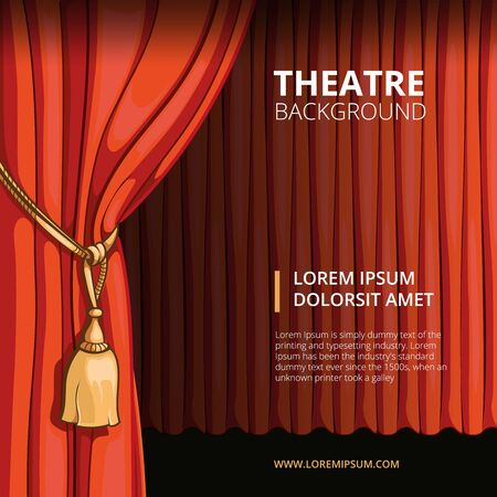 stage performance: Theater stage with a red curtain. Vintage in comic style. Show performance concert, presentation cinema, vector illustration