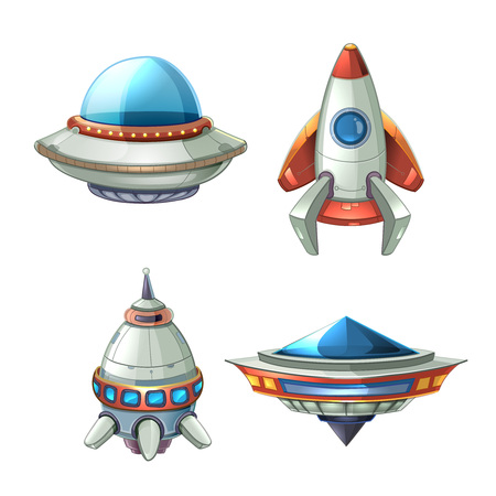 fantasy alien: Spaceship and UFO vector set in cartoon style. Rocket and spacecraft, futuristic transportation, collection ship illustration
