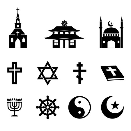 catholicism: Religion icons vector set. Cross and church, bible and christianity, catholicism traditional illustration