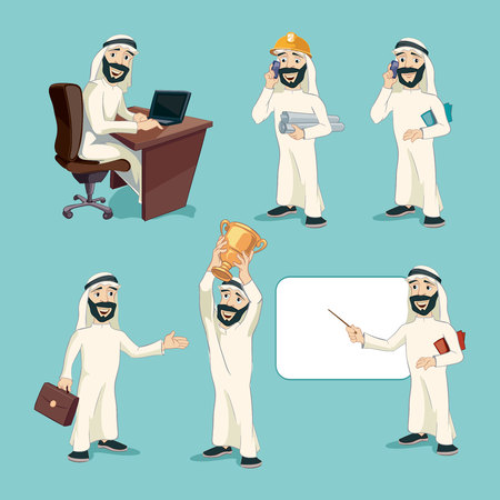 saudi: Arab businessman in different actions. Vector cartoon characters set. Worker person, professional manager, smiling and expression, arabic clothing, islam eastern illustration