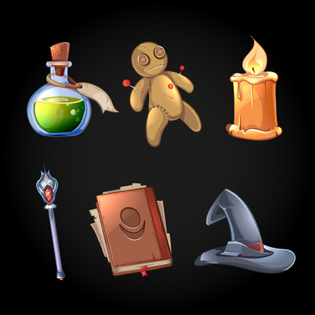 Voodoo doll: Fairy tale magic icons set in cartoon style. Witchcraft and fantasy, poison and wand, magician tool, vector illustration Illustration