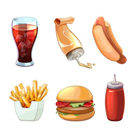 vector set: Fast food cartoon icons set. Hot dog and hamburger, drink, and burger, sandwich snack, vector illustration Illustration