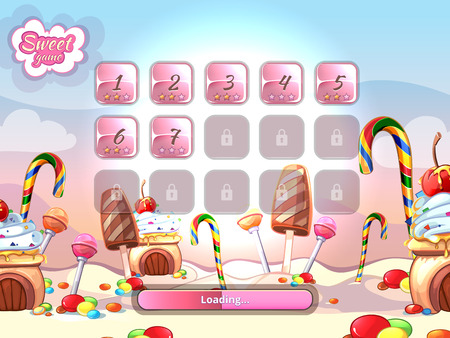 candies: Cartoon fairy tale candy background user interface UI cartoon style. Candy sweet element, loading computer game vector illustration Illustration