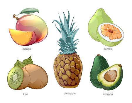 Cartoon exotic tropic fruits icons set. Pomelo mango pineapple kiwi, vector illustration Ilustracja